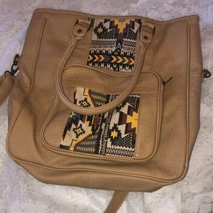 Western style leather tote